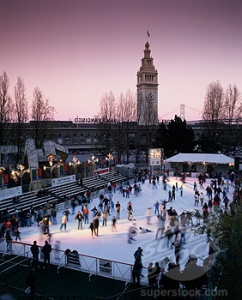 High angle view of a group of people ice skating on an ice rink, Kristi Yamaguchi Holiday Ice Rink, Embarcadero Center, San Francisco, California, USA
